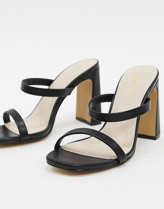 Qupid strappy heeled mules in black
