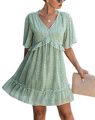 KIRUNDO Summer Women's Floral Ruffle Hem Mini Dress Short Sleeves V Neck High Waist Loose Boho Dress (