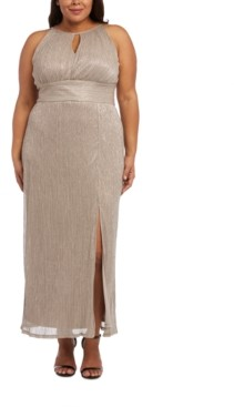 R & M Richards Plus Size Metallic Gown