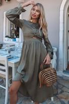 Little Mistress Laurie Khaki Satin And Lace-Trim Midi Dress