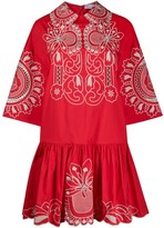 RED Valentino floral-embroidered poplin dress
