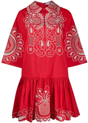 RED Valentino Floral Embroidered Poplin Dress