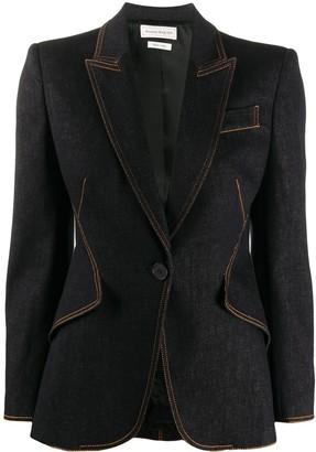 Alexander McQueen Structured Contrast Stitch Denim Blazer