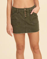 Hollister Button Fly Low-Rise Twill Mini Skirt