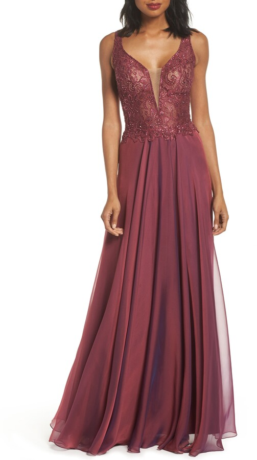 La Femme Lace & Chiffon A-Line Gown