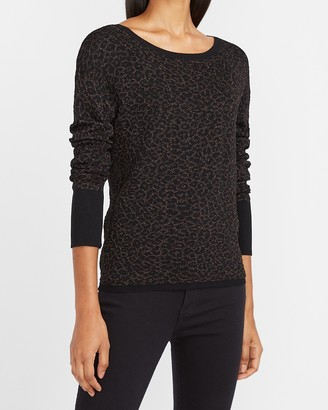Express Metallic Leopard Crew Neck Sweater