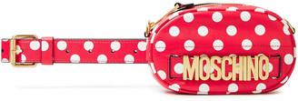 Moschino Convertible Logo-embellished Polka-dot Faux Leather Belt Bag