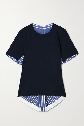 Sacai Asymmetric Paneled Striped Cotton-poplin And Jersey Top
