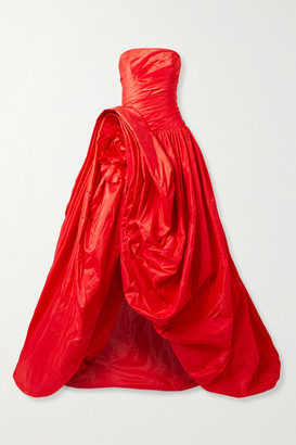 Oscar de la Renta Asymmetric Gathered Silk-taffeta Gown - Tomato red
