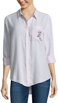 Arizona Long Sleeve Embroidered Stripe Shirt-Juniors