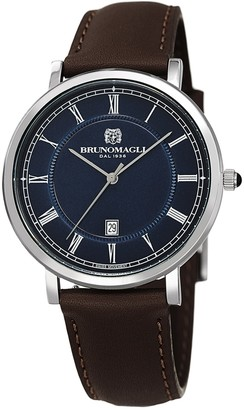 Bruno Magli Men's Milano Swiss Quartz Leather Strap Watch, 41mm