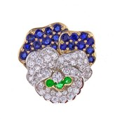 Tiffany & Co. Pansy Sapphire Diamond and Emerald Pin