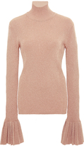 Carven Metallic Pleated Sleeve Sweater