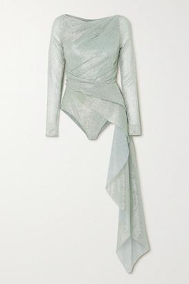 Talbot Runhof Draped Ruched Stretch-lame Bodysuit - Sky blue