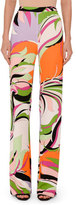 Emilio Pucci Printed Pull-On Palazzo Pants, Pink/Green