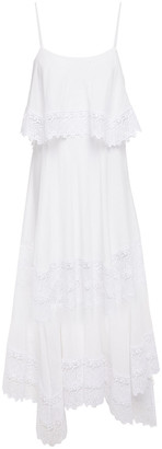 Charo Ruiz Ibiza Layered Lace-paneled Cotton-blend Mousseline Maxi Dress