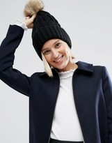 Asos Cable Faux Fur Pom Beanie