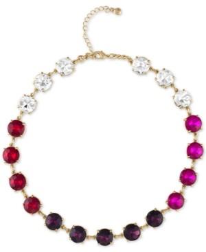 "Rachel Roy Gold-Tone Crystal & Multicolor Stone Collar Necklace, 16-1/2"" + 2"" extender"