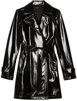 Theory Oaklane Short Faux Patent Leather Trench Coat