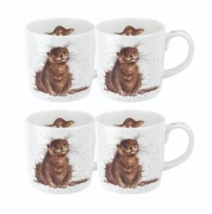 Royal Worcester Wrendale River Gent Otter Mug Set/4