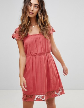 Pepe Jeans Wendy Lace Hems Dress-Red