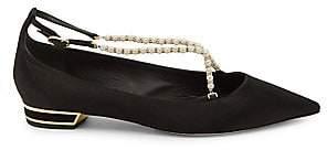 Rene Caovilla Women's Faux Pearl-Embellished Satin Ballerina Flats