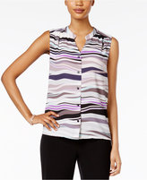 Nine West Sleeveless Printed Blouse