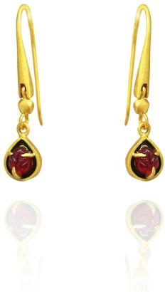 AKANSHA SETHI Pink Tourmaline & Enamel Leaf Earrings