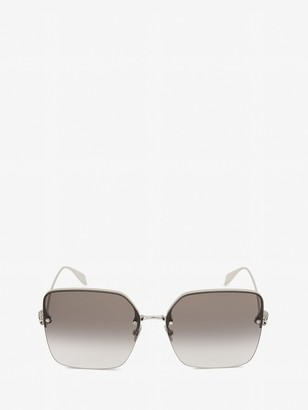Alexander McQueen Skull Jeweled Square Sunglasses