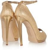 Oscar de la Renta Metallic raffia-effect sandals