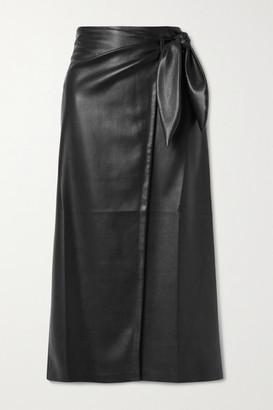 Nanushka Amas Vegan Leather Wrap Skirt - Black