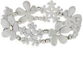 Apricot White Crystal Embellished Floral Cuff Bracelet
