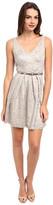 Donna Morgan V-Neck Short Shimmer Lace Dress w/ Belt
