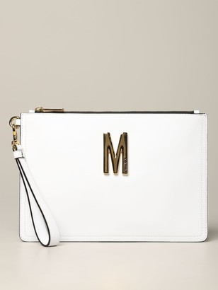 Moschino Leather Clutch Bag With Big Monogram