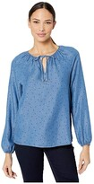 NYDJ Peasant Blouse (Speckled Dot) Women's Clothing