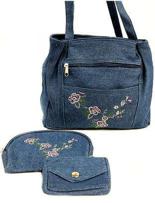 Gold Coast Embroidered Denim Bag-Set