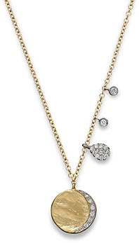 Meira T Diamond Disc Charm Necklace in 14K Yellow Gold, 16