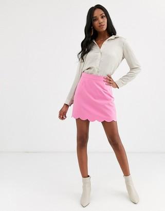 Asos Design DESIGN a-line mini skirt with scallop hem-Pink
