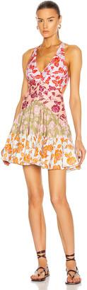 Zimmermann Lovestruck V-Neck Mini Dress in Mixed Roses | FWRD