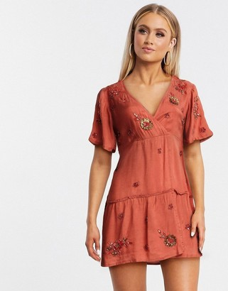 Raga forever yours short wrap mini dress in pink