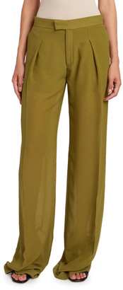Chloé Silk Georgette Straight-Leg Pants