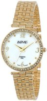 August Steiner Women's AS8078YG Diamond Mother-Of-Pearl Gold-Tone Bracelet Watch