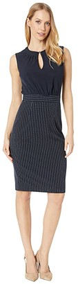 Ted Baker Angilad Mockable Dress with Stripe Skirt (Dark Blue) Women's Clothing