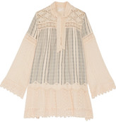 Anna Sui Lace-paneled Striped Cotton-gauze Mini Dress - Cream