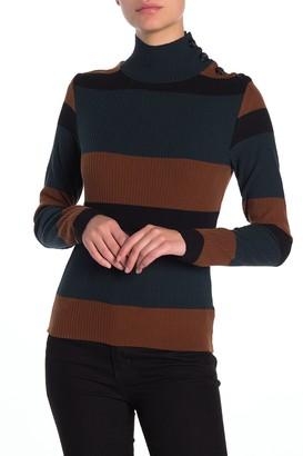 Sanctuary Buttoned Mock Neck Long Sleeve Shirt (Petite)