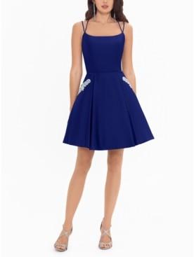 Blondie Nites Juniors' Embellished-Pocket A-Line Dress