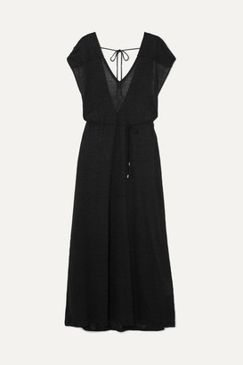 Ninety Percent Belted Linen-jersey Maxi Dress - Black