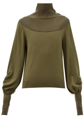 Chloé Ribbed High-neck Balloon-sleeve Wool Sweater - Khaki