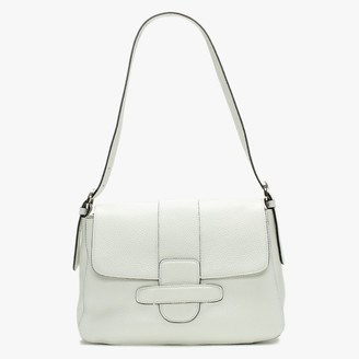 Abro White Leather Front Flap Shoulder Bag