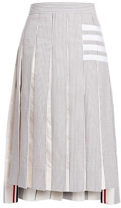 Thom Browne Drop-Back Pleated Cotton Skirt